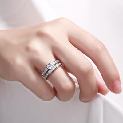 Princess Cut 925 Sterling Silver White Sapphire Bridal Sets