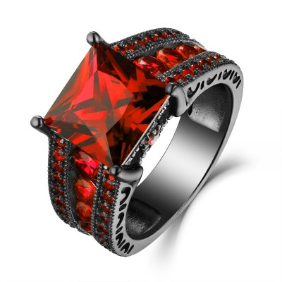Princess Cut Ruby Black 925 Sterling Silver Engagement Rings