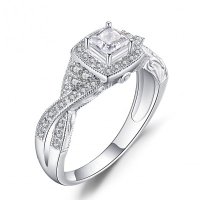 Princess Cut White Sapphire Sterling Silver Halo Engagement Rings