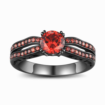 Round Cut Ruby Black 925 Sterling Silver Engagement Ring