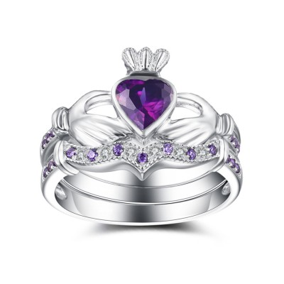 Heart Cut Amethyst 925 Sterling Silver Bridal Sets