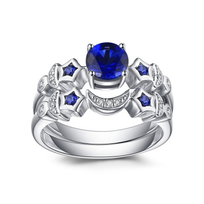 Moon and Star Blue Sapphire 925 Sterling Silver Bridal Sets