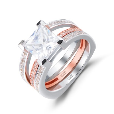 Rose Gold Princess Cut White Sapphire 925 Sterling Silver Bridal Sets