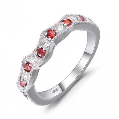 Round Cut White Sapphire and Ruby Sterling Silver Wedding Bands