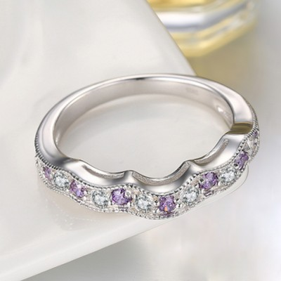 Round Cut White Sapphire and Amethyst Sterling Silver Wedding Bands