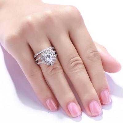 Pear Cut White Sapphire 925 Sterling Silver Women's Ring Bridal Set