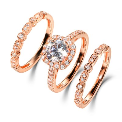 Round Cut White Sapphire 925 Sterling Silver Rose Gold Halo Ring Sets