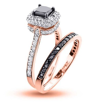 Rose Gold Princess Cut Black Sapphire Sterling Silver Halo Bridal Sets