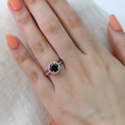 Rose Gold Round Cut Black Sapphire Sterling Silver Halo Bridal Sets