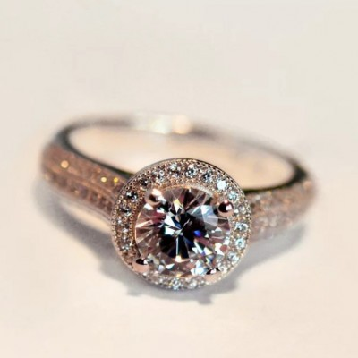 Round Cut White Sapphire Engagement Rings