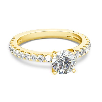 Round Cut White Sapphire 925 Sterling Silver Gold Bridal Sets