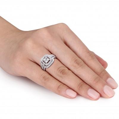 Princess Cut White Sapphire Sterling Silver Halo 3-Piece Bridal Sets