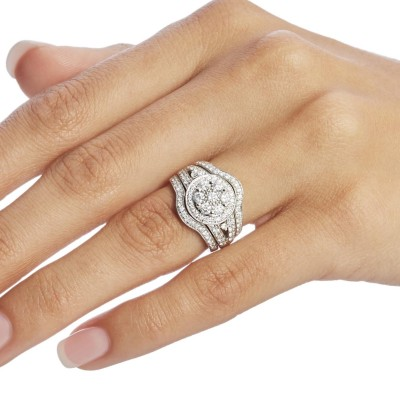Round Cut White Sapphire Sterling Silver Halo 3-Piece Bridal Sets