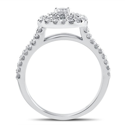 Round Cut White Sapphire Sterling Silver Double Halo 3-Piece Bridal Sets