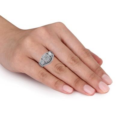 Princess Cut White Sapphire Sterling Silver Halo Bridal Sets