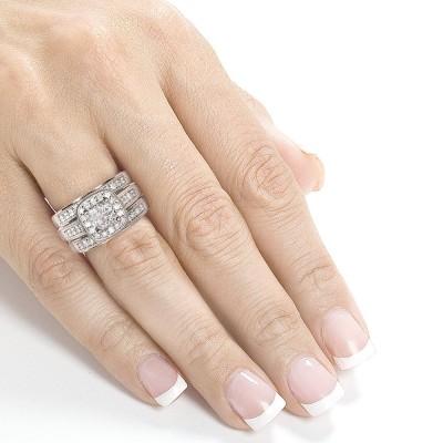 Princess Cut White Sapphire 925 Sterling Silver Halo 3-Piece Bridal Sets