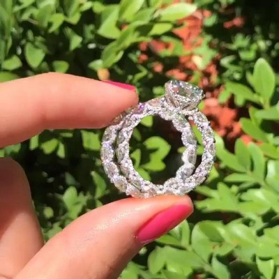 Round Cut White Sapphire 925 Sterling Silver Bridal Sets