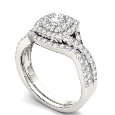 Round Cut White Sapphire 925 Sterling Silver Double Halo Bridal Sets