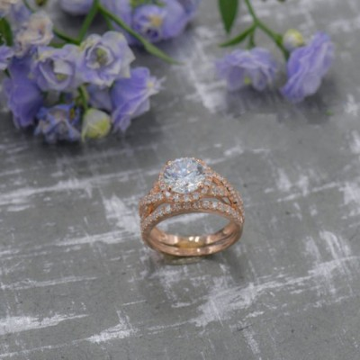 Round Cut White Sapphire 925 Sterling Silver Rose Gold Halo Bridal Sets