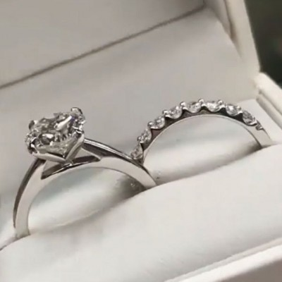 Round Cut White Sapphire 925 Sterling Silver Classic Bridal Sets