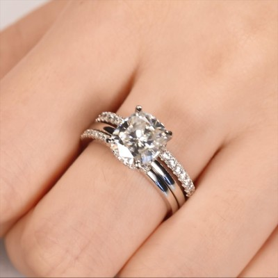 Cushion Cut White Sapphire 925 Sterling Silver 3-Piece Bridal Sets