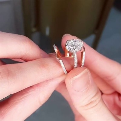 Oval Cut White Sapphire Rose Gold 925 Sterling Silver Bridal Sets