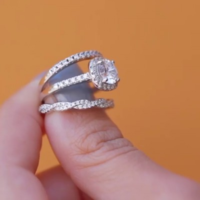 Round Cut White Sapphire 925 Sterling Silver 3-Piece Halo Bridal Sets