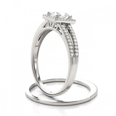 Radiant Cut White Sapphire 925 Sterling Silver Halo Bridal Sets