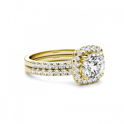 Round Cut White Sapphire Gold 925 Sterling Silver Halo Bridal Sets