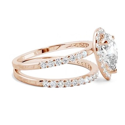 Pear Cut White Sapphire Rose Gold 925 Sterling Silver Halo Bridal Sets