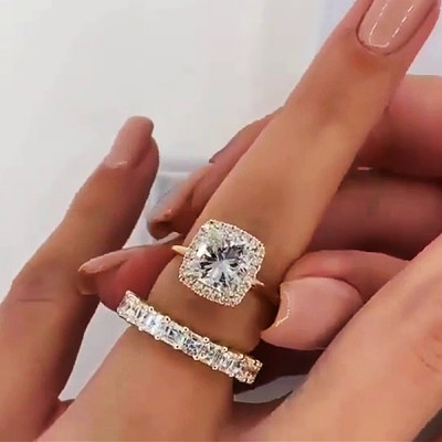 Radiant Cut White Sapphire Gold 925 Sterling Silver Halo Bridal Sets