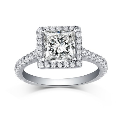 Halo Cushion Cut 925 Sterling Silver White Sapphire Engagement Rings