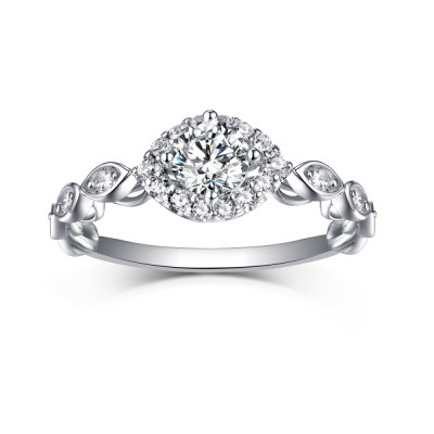 Beautiful Round Cut White Sapphire 925 Sterling Silver Halo Engagement Rings