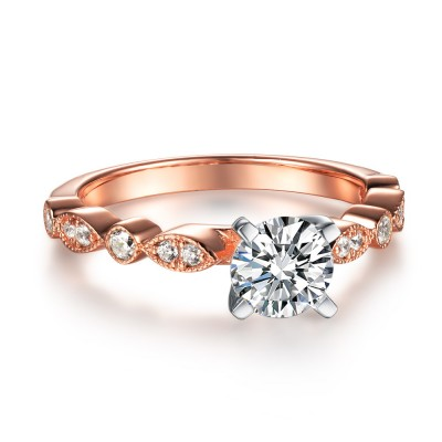 Round Cut White Sapphire Rose Gold 925 Sterling Silver Engagement Rings