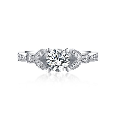 Sweet Round Cut 925 Sterling Silver White Sapphire Engagement Rings