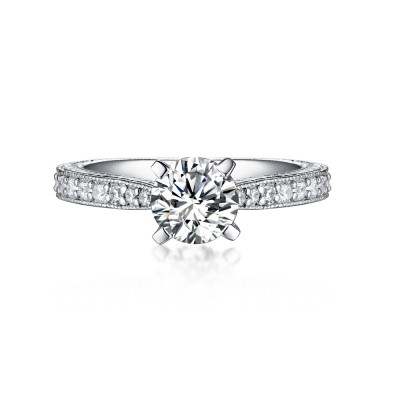 Unique Round Cut White Sapphire 925 Sterling Silver Engagement Rings