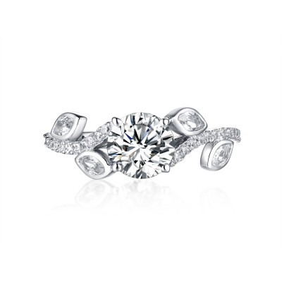 Art Deco Round Cut White Sapphire 925 Sterling Silver Engagement Rings