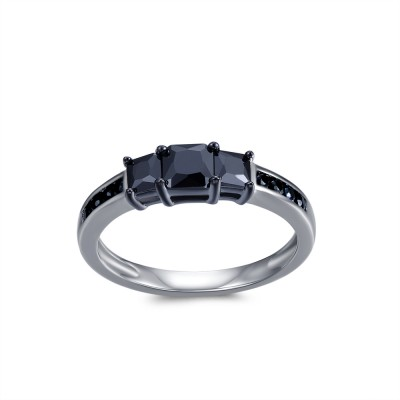 1CT Princess Cut Black Gemstone Sterling Silver Engagement Ring