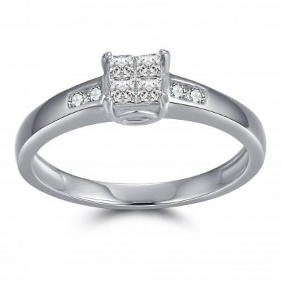 1/8CT Princess Cut Gemstone Sterling Silver Engagement Ring