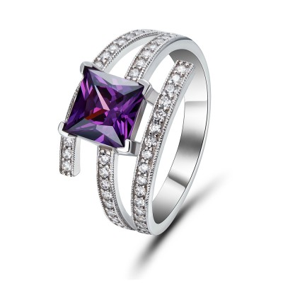 Princess Cut Amethyst Sterling Silver Cocktail Ring