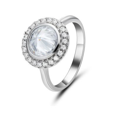 Round Cut Gemstone Sterling Silver Cocktail Ring
