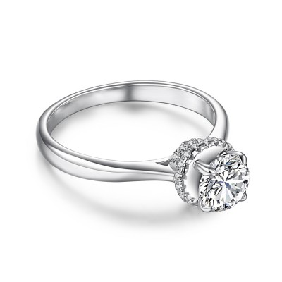 Round Cut 0.6CT White Sapphire 925 Sterling Silver Promise Rings For Her
