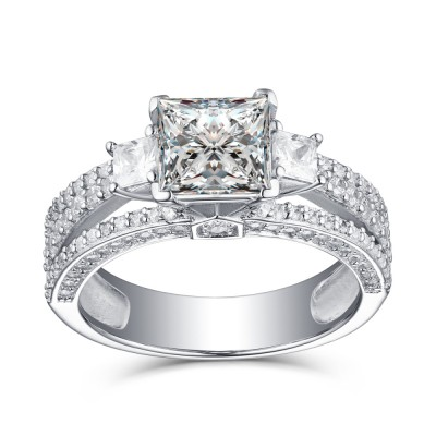 Princess Cut White Sapphire 925 Sterling Silver Womens Engagement Ring