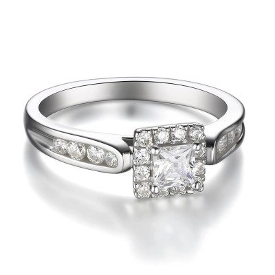 Women's Princess Cut 925 Sterling Silver White Sapphire Engagement Ring