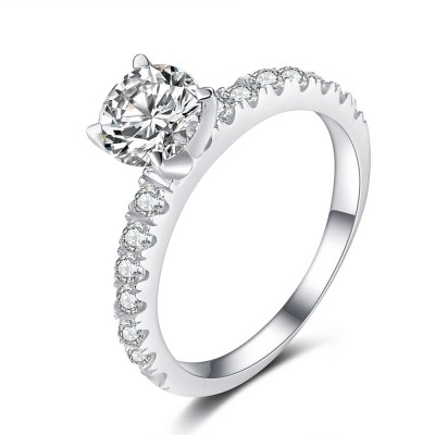Round Cut Gemstone 925 Sterling Silver Engagement Ring