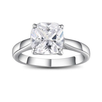 Asscher Cut Gemstone 925 Sterling Silver Promise Rings For Her