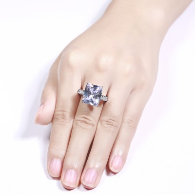 Radiant Cut White Sapphire Sterling Silver 3-Stone Engagement Rings