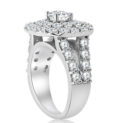 Round Cut White Sapphire Sterling Silver Double Halo Engagement Rings