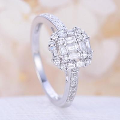 Unique White Sapphire Halo Engagement Ring