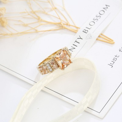 Cushion Cut Gold Plated Engagement Ring